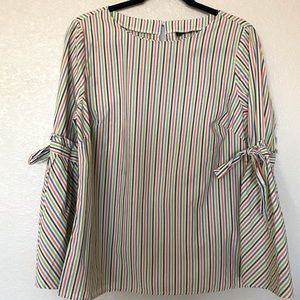 Tops - Striped Top with tied bell sleeves